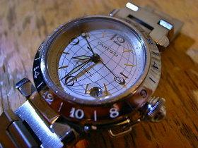 buy online 30a16 751e0 Cartier カルティエパシャCメリディアンGMT自動巻腕時計 ...
